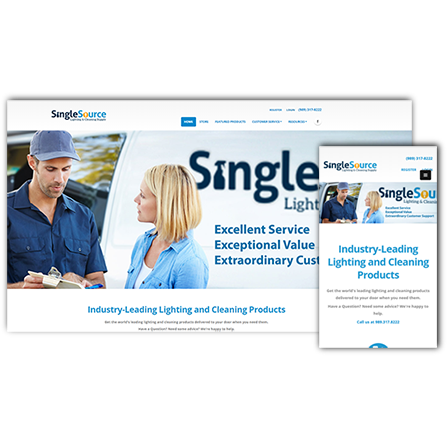 SingleSource Lighting and Cleaning Supply Website
